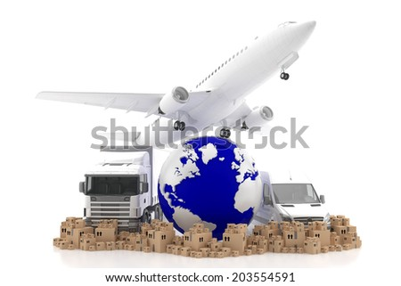 International goods transport - stock photo