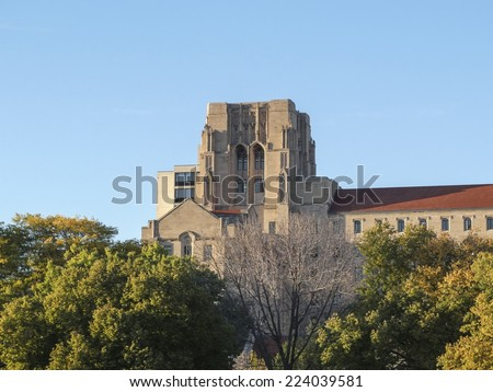 International House at the University of Chicago on a beautiful fall day in Chicago, IL, USA. - stock photo