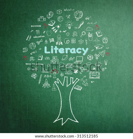 International literacy day concept: Tree of knowledge and education on green chalkboard background with freehand sketch doodle of school supplies: Blackboard with white and pastel chalk drawing:  - stock photo