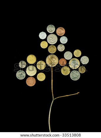 International monetary flower. Figure of nickel coins. - stock photo