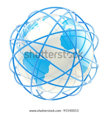International network symbol: Earth globe belted with blue rings isolated on white - stock photo