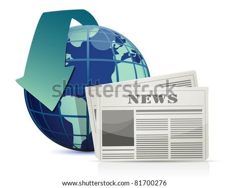 international news illustration design over white - stock photo