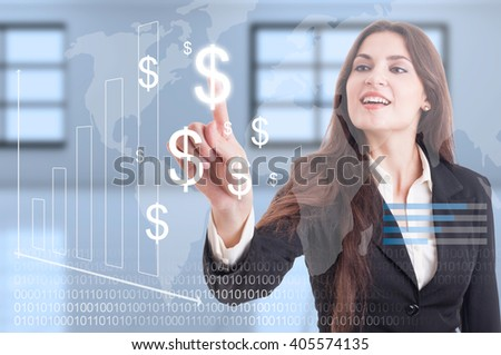 International or worldwide curency transactions with dollar symbol as digital technology concept - stock photo