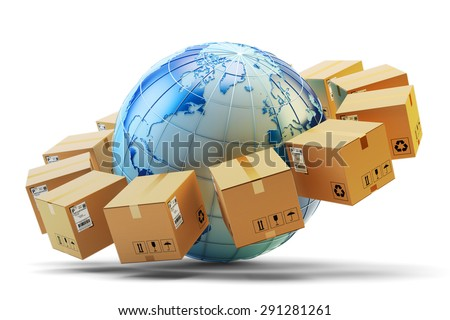 International package delivery concept, global purchases transportation business, cardboard boxes around Earth globe isolated on white background (Elements of this image furnished by NASA) - stock photo