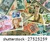 International paper currencies closeup, background. - stock photo