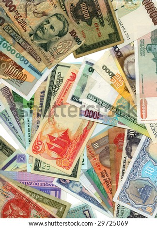 International paper currencies closeup, background. - stock photo