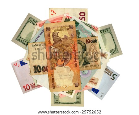 International paper currencies in motion, closeup, background, isolated. - stock photo
