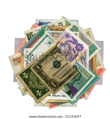 International paper currencies in motion, closeup, background, isolated.