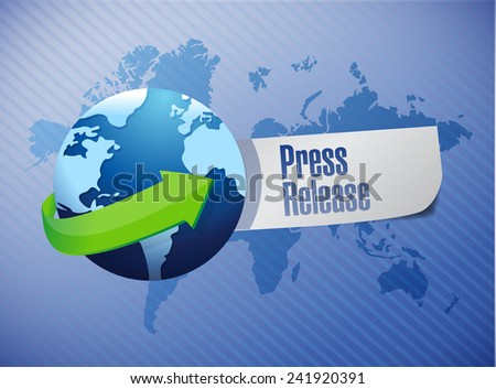 international press release sign illustration design over a world map background