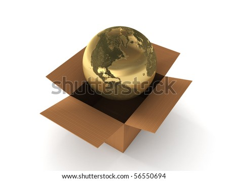 International shipping. Golden globe in box isolated on white background. High quality 3d render. - stock photo