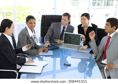 International Talks. Business people from various ethnics at a meeting. - stock photo