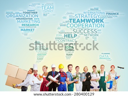 International teamwork with group of people from many trades and professions