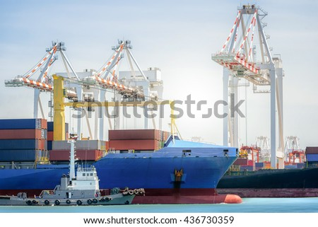International Transportation Shipping, Tugboats assisting container cargo ship to harbor,  Logistic Import Export background concept.