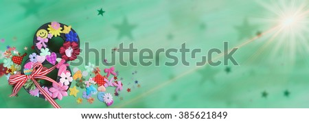 International Woman's Day Card, colorful symbols on green background - stock photo