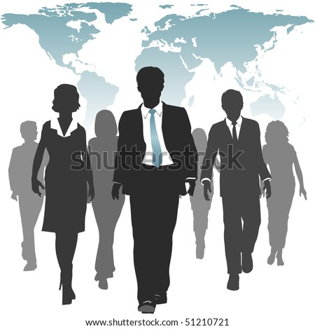 International work force of business people walks forward under a world map. - stock photo