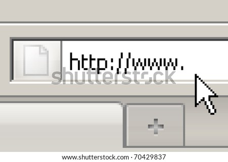 internet address being typed onto a computer screen - stock photo