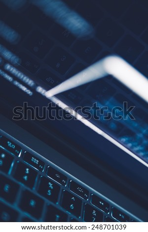 Internet and Computer Technologies Conceptual Photo Background. Dark Blue Technology Concept Background. - stock photo