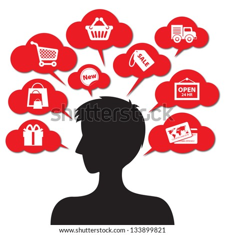 Internet and Online Shopping Concept Boy 01 With E-Commerce Icon - Isolated on White Background - stock photo