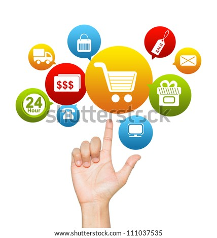 Internet and Online Shopping Concept Present by Hand With E-Commerce Icon Above Isolate on White Background - stock photo