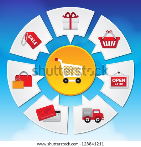 Internet and Online Shopping Concept 02 With E-Commerce Icon on Blue Sky Background - stock photo