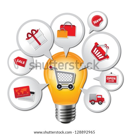 Internet and Online Shopping Concept 01 With Lightbulb and E-Commerce Icon - Isolated on White Background - stock photo