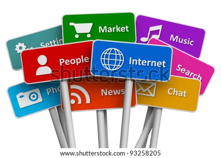 Internet and social media concept: set of color signs with icons of internet and social media services isolated on white background