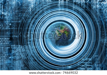 Internet Background with Globe - stock photo