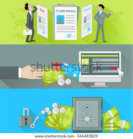 Internet banking and safe storage money. Credit history, good and bad, business financial bank, cash and loan, economy currency, dollar budget illustration. Raster version - stock photo