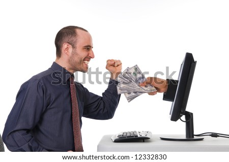 Internet Banking with a business man in the office - stock photo