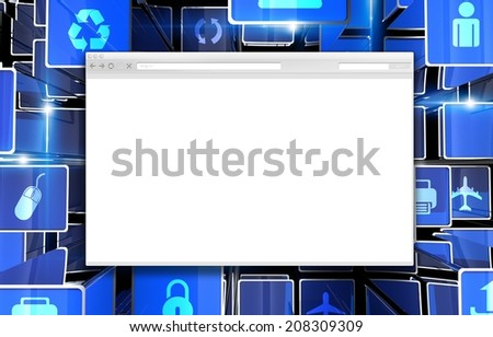 Internet Browser Abstract. Modern Browser on Cool Blue Technology Background. 3D Illustration. - stock photo