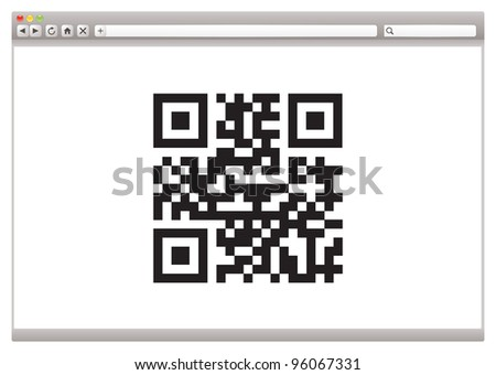 Internet browser concept with QR code for product identification - stock photo