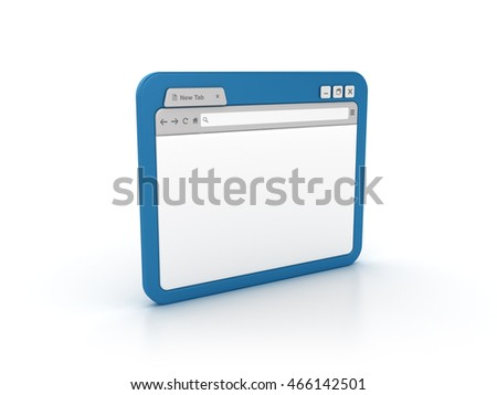 Internet Browser on White Background - High Quality 3D Rendering / Illustration