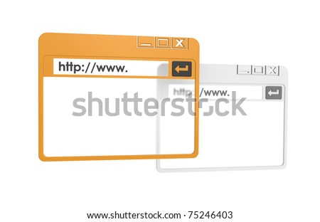 Internet Browser Windows, simplified. Orange and Gray isolated on white.