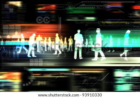 Internet business concept. Virtual people doing business inside the virtual world of internet. Illustrated with flashing website, and hitech elements of design. - stock photo