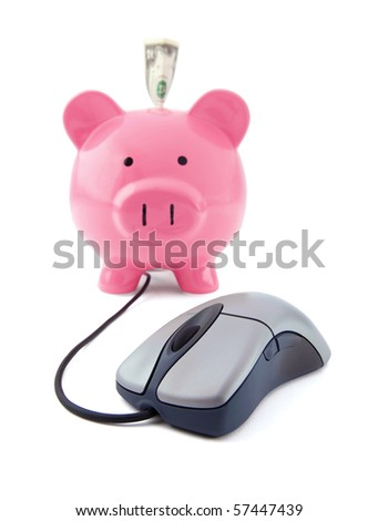Internet business concept with a mouse and a piggy bank on a white background with focus on the mouse. - stock photo