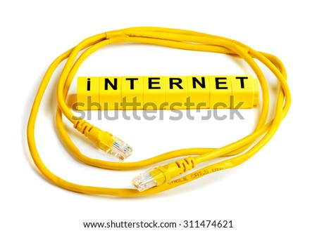 Internet cable cat.5 UPD with RJ45 plug connection - stock photo