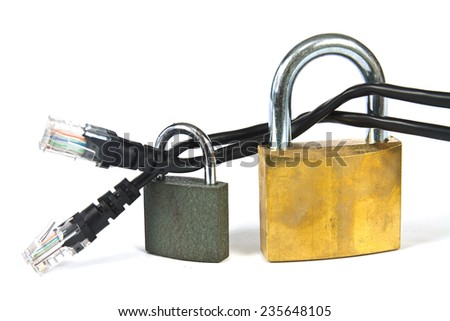 Internet cable locked with a padlock - concept of safe web browsing - stock photo