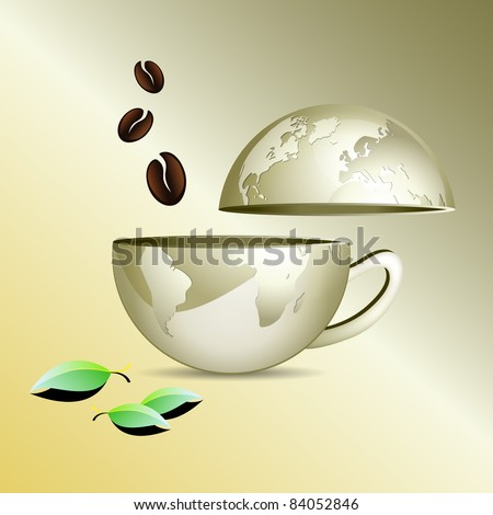 Internet cafe concept - business world map in shape of a coffee cup globe with coffee beans and leaves against golden background - abstract communication and connection concept - stock photo