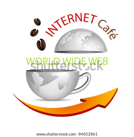 Internet cafe icon - abstract business globe in shape of a coffee cup with arrow and coffee beans - symbolic cybercafe sign - stock photo