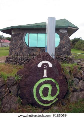 Internet cafe on Easter Island - stock photo