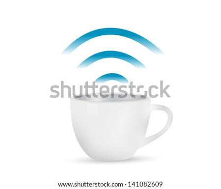 internet coffee mug concept illustration design over white - stock photo
