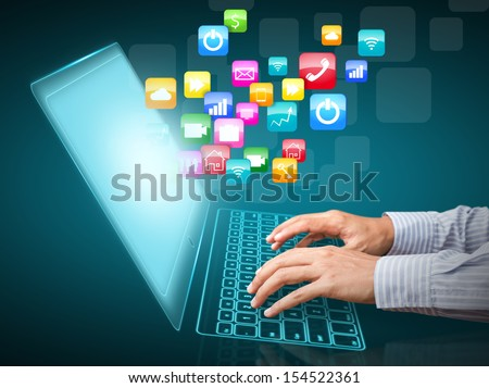 Internet communication and cloud computing concept - stock photo