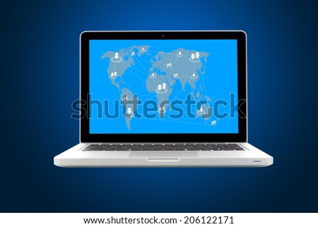 Internet communication and cloud computing concept