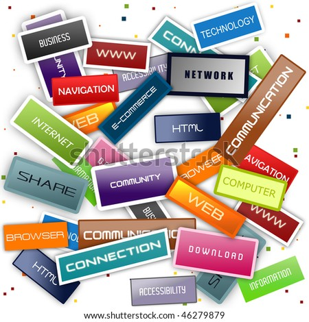 Internet concept background with varius terms - stock photo