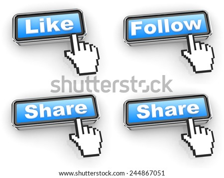 Internet Concept. Blue Web Buttons with Hand Cursor Isolated on White Background. - stock photo