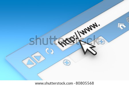 Internet Concept 2011. Browser Window. Transparent with blue background - stock photo