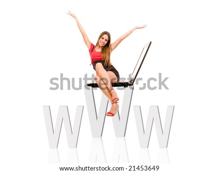 Internet concept by attractive woman siting on web symbol. - stock photo