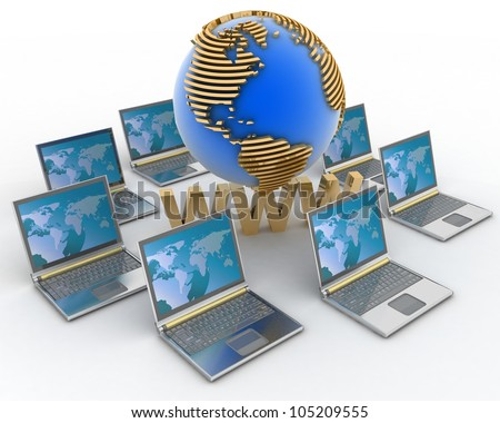 Internet concept. 3d rendered illustration - stock photo