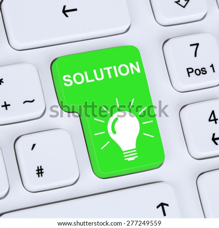 Internet concept finding solution for problem conflict button online computer - stock photo