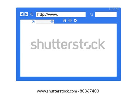 Internet Concept. Front view of an Abstract Browser window. Blue, isolated with copy space. - stock photo